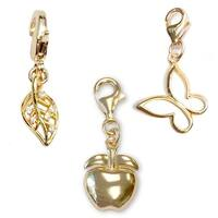 Julieta Jewelry Apple, Leaf, Butterfly 14k Gold Over Sterling Silver Clip-On Charm Set
