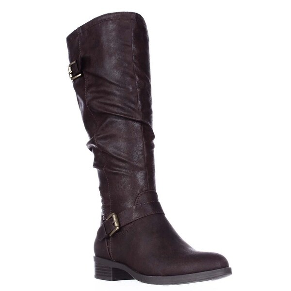 White Mountain Chip Wide Calf Riding Boots, Dark Brown - 5 us