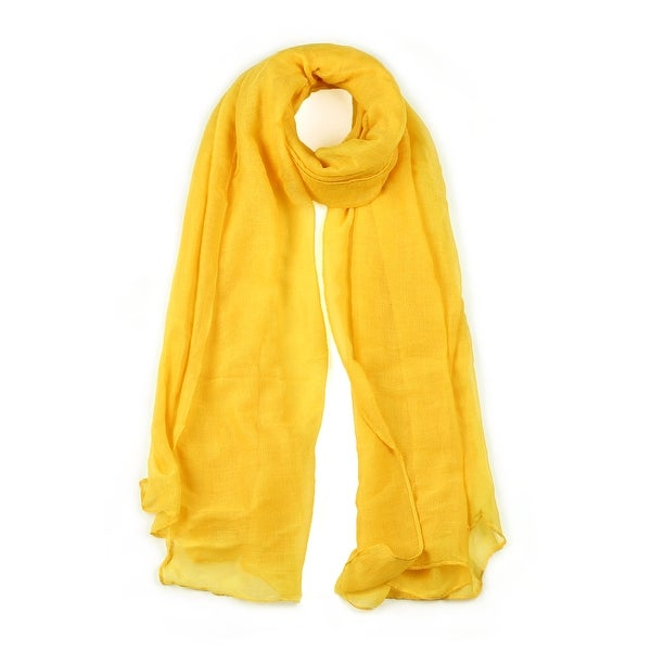 Long Warm Shawl Large Soft Solid Color Scarf for Women Men Yellow-3
