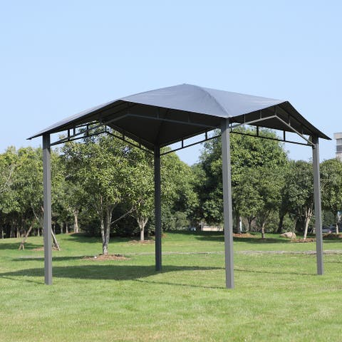Outsunny 10' x 10' Steel Polyester Fabric Soft Top Outdoor Canopy Gazebo