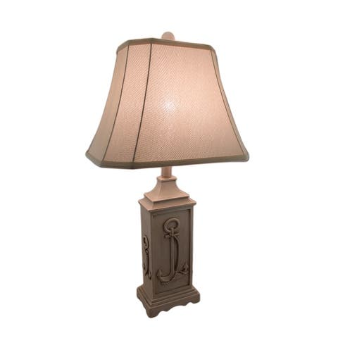 Beige Stone Finish Rustic Nautical Anchor Table Lamp w/Fabric Shade - 29 X 15 X 11 inches