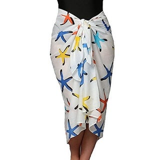 Plus Size Bright Starfish Swimsuit Sarong in 100% Soft Cotton
