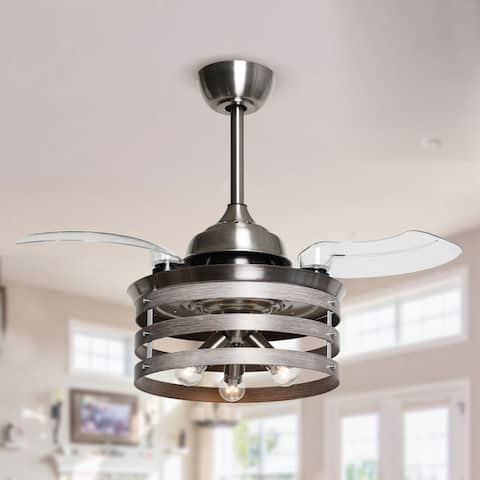 Satin Nickel 36-in Retractable 3-Blade Ceiling Fan with Light Kit