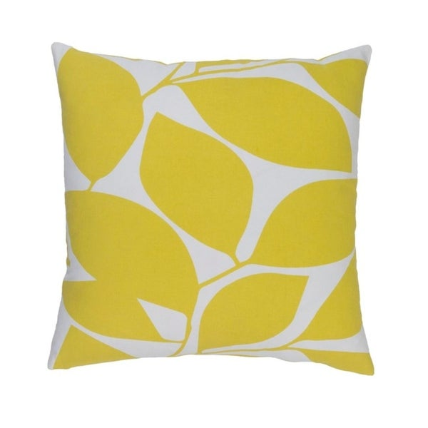 "22""Lavish Leaves Canary Yellow and Timberwolf Gray Decorative Throw Pillow - Down Filler"