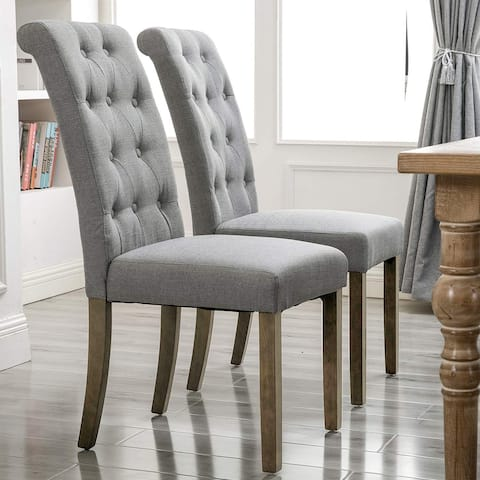 Elegant Solid Wood Tufted Dining Chair Dining Room Set (Set of 2)