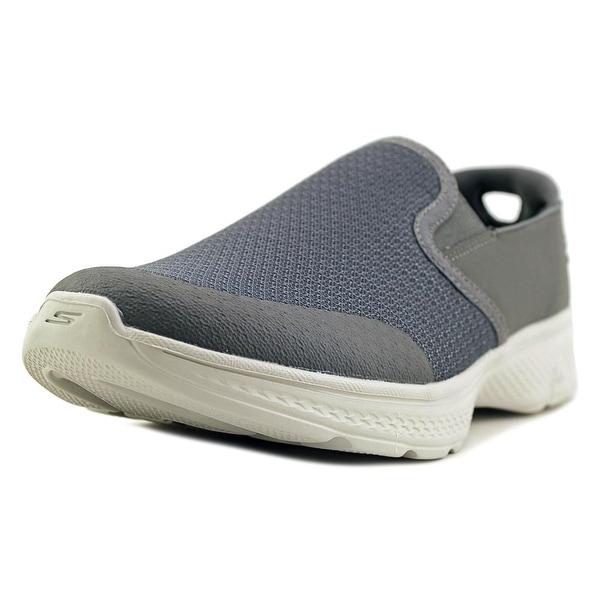 Skechers Go Walk 4 - Contain Men Round Toe Canvas Gray Walking Shoe