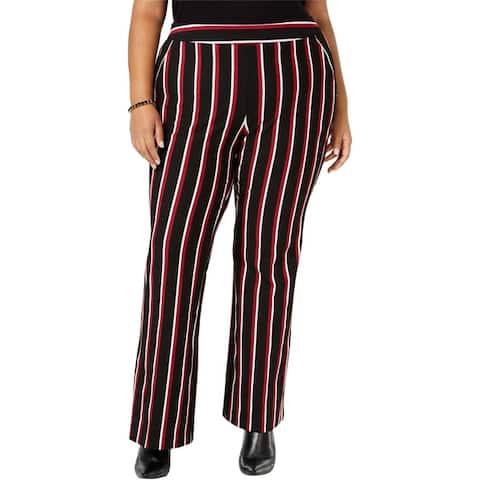 I-N-C Womens Striped Ponte-Knit Casual Wide Leg Pants