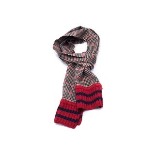 Gucci Men's Red Checkered Wool Cashmere Scarf