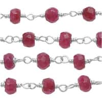 Ruby Gemstone Sterling Silver Wire Wrapped Chain 3.5mm Rondelles - By The Inch