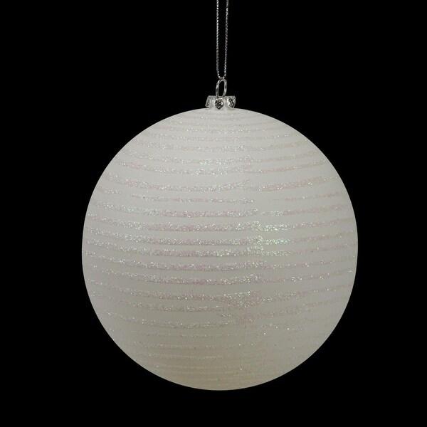 """Winter White Glitter Striped Shatterproof Christmas Ball Ornament 4.75"""" (120mm)"""