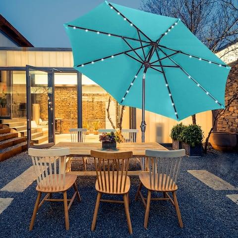 Zenova 9ft Solar 32 LED Lighted Umbrella Waterproof Sun Protection