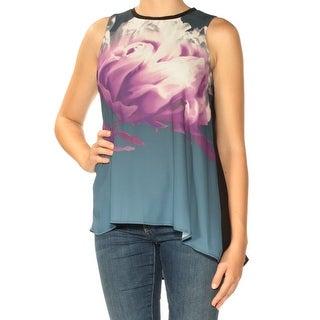 Womens Purple Black Floral Sleeveless Jewel Neck Top Size 8