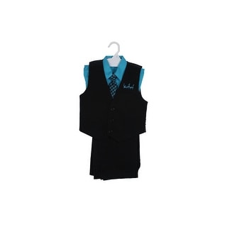 Paperio Boys Vest Pinstripe Set with Stripe Long Tie, Shirt, Pants Teal