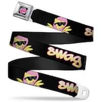 My Little Pony Logo Full Color Black Pink Fluttershy In Sunglasses Swag Seatbelt Belt