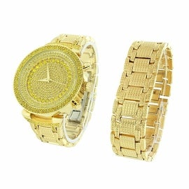 Mens Watch & Bracelet Set Iced Out Simulated Diamonds Analog Display Stainless Steel Back