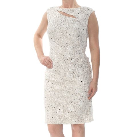 37949ad835ff4 CONNECTED Womens Ivory Sequined Lace Cutout Sleeveless Boat Neck Above The  Knee Sheath Cocktail Dress Size
