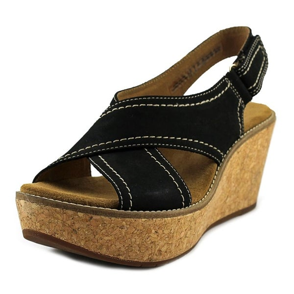 Clarks Artisan Aisley Tulip Women Open Toe Leather Black Wedge Sandal