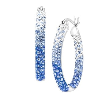 Crystaluxe Oval Hoop Earrings with Blue Ombré Swarovski Crystals in Sterling Silver