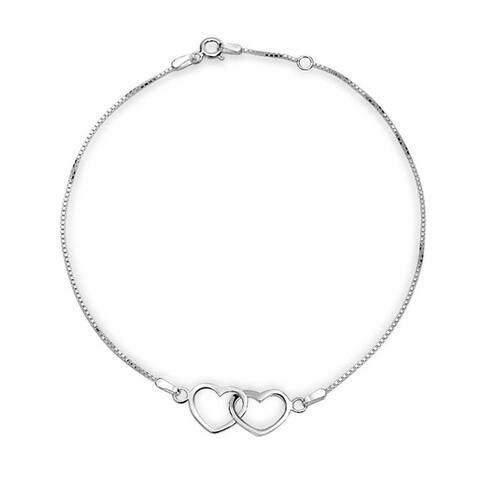 Open Interlocking Hearts Anklet Ankle Bracelet 925 Sterling Silver Adjustable 9 to 10 Inch with Extender