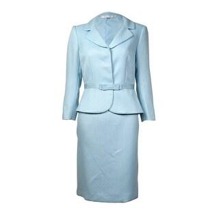 Tahari Women's Notched Lapel Grosgrain Trim Woven Skirt Suit