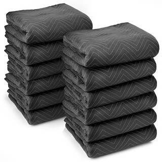 """12 Moving Blankets Furniture Pads - Ultra Thick Pro - 80"""" x 72"""" Black"""