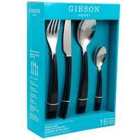 Gibson Home Deco Shine 16 Piece Flatware Set in Black