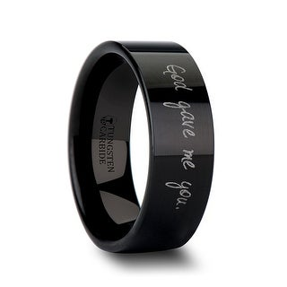 THORSTEN - Handwritten Engraved Flat Pipe Cut Black Tungsten Ring Polished - 12mm