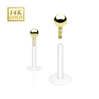 """14Kt Solid Gold Ball Top Bio-Flex Shaft Labret, Monroe,Tragus, and Cartilage- 16GA-5/16"""" Long (Sold Ind.)"""