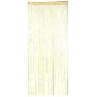 Polyester Door Window String Bead Curtain Tassel Champagne Color 100 x 200cm