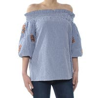 DKNY Womens Blue Embroidered Check 3/4 Sleeve Off Shoulder Top  Size: XS