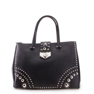 Prada Studded Saffiano Leather Shoulder Handbag - Black - L