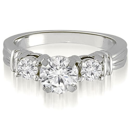 1.00 cttw. 14K White Gold Vintage Three-Stone Round Cut Diamond Engagement Ring