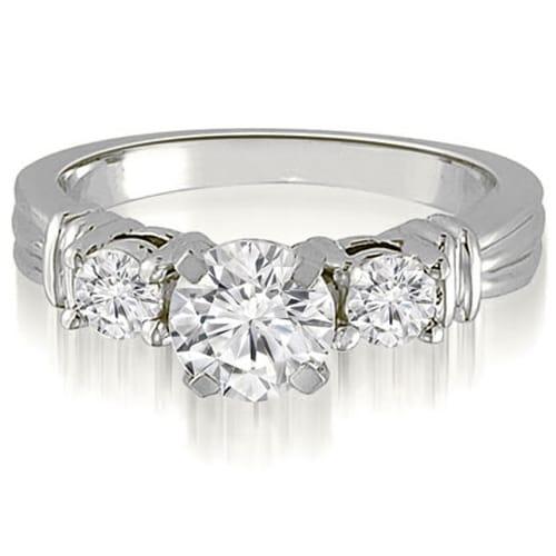 1.25 cttw. 14K White Gold Vintage Three-Stone Round Cut Diamond Engagement Ring