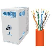 SolidRun by Sewell, Cat5e Bulk Cable, 250 ft., UTP, CMR, Orange, Pull Box