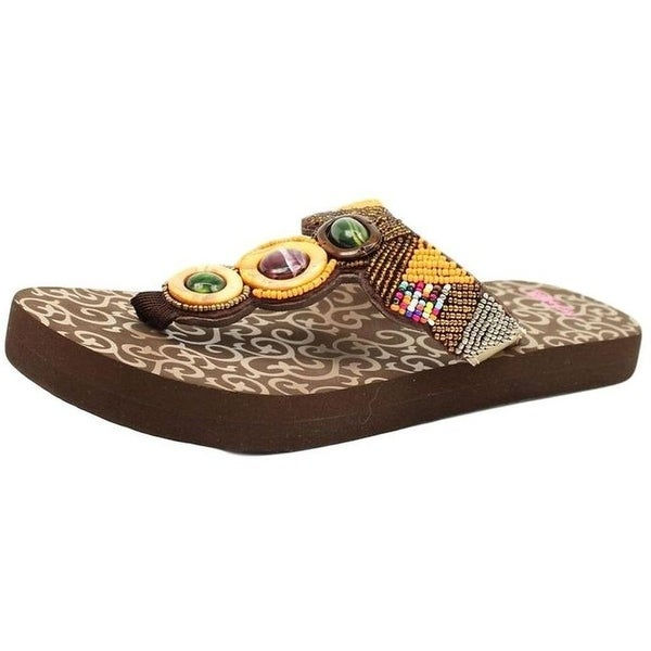 Blazin Roxx Western Shoes Womens Phoebe Flip Flops Bead Brown