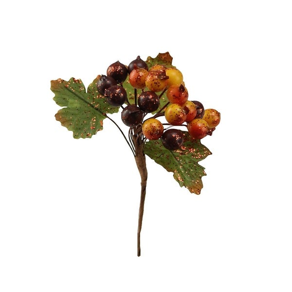 "4.5"" Glittered Yellow, Orange and Burgundy Wild Berry with Leaves Christmas/Autumn Pick"