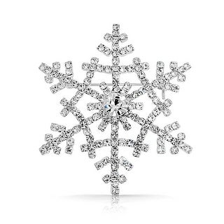 Bling Jewelry Crystal Winter Snowflake Brooch Christmas Pin Silver Plated