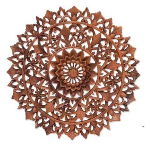 "Handmade Padma Parade Wood Relief Panel (Indonesia) - 0.9"" H x 15.25"" Diam."