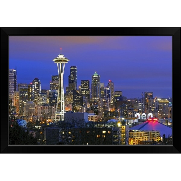 """Seattle seen from Kerry Park in Queen Anne neighborhood."" Black Framed Print"