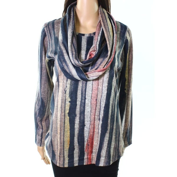 David Cline Red Womens Large Scarf Striped Knit Top
