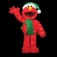 "32"" Pre-Lit Soft Faux Fur Sesame Street Elmo Christmas Decoration - Clear Lights - RED"