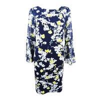 Jessica Howard Women's Floral-Print Bell-Sleeve Shift Dress - Navy/Yellow