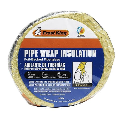 "Frost King SP42X/16 Foil-Backed Fiberglass Pipe Wrap Insulation, 1"" x 3"" x 25'"