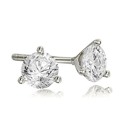 0.50 cttw. 14K White Gold Round Cut Diamond Martini 3-Prong Stud Earrings