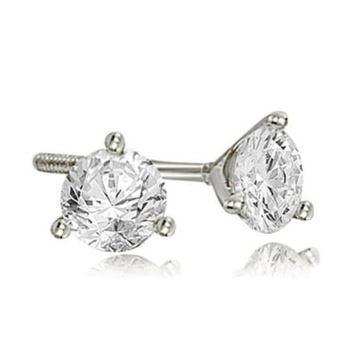 0.75 cttw. 14K White Gold Round Cut Diamond Martini 3-Prong Stud Earrings - White H-I