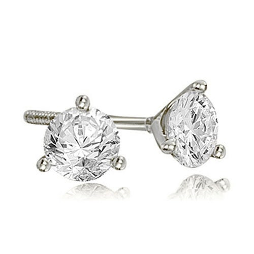 1.00 cttw. 14K White Gold Round Cut Diamond Martini 3-Prong Stud Earrings
