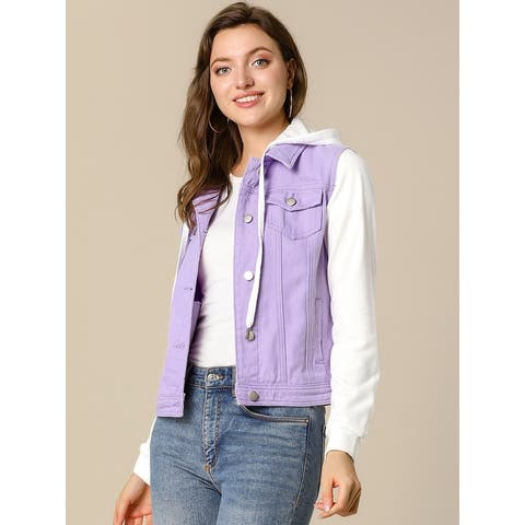 Unique Bargains Women Layered Drawstring Hood Denim Jacket w Pockets
