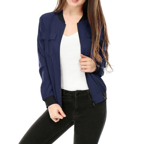 Women's Multi-Pocket Zip Fastening Lightweight Bomber Jacket