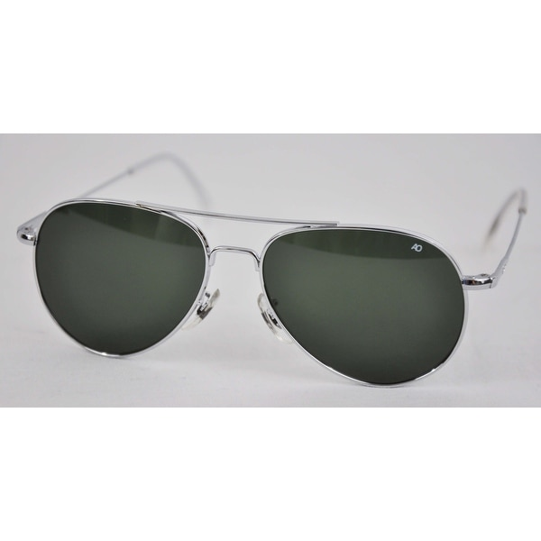 American Optical General Wire Spatula 58 Silver TC Grn Sunglasses 32627