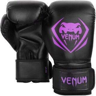 Venum Contender Hook and Loop Training Boxing Gloves - Black/Purple